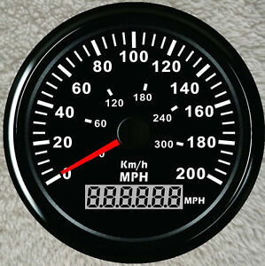 85mm Gps 200mph 300kph Speedometer For Car Truck Boat Motorcycle Black Usa Stock