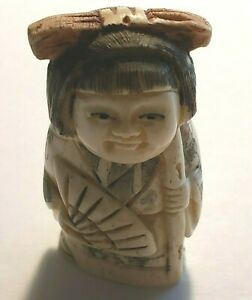 Girl With Fan Pink Bow Colored Netsuke Japanese 1201
