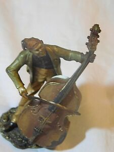 Antique Cold Painted Bronze Austria Musican Playing Large Bass Hallmarked
