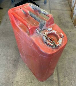 Vintage 5 Gal Red Gas Can Fuel Jerry Jeep Truck Military