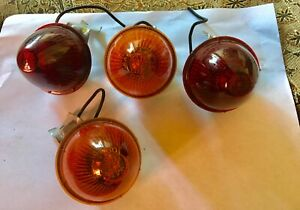 Vintage Tail Lamp Light Lens 2 Red 2 Orange Car Auto Taillight 2 5in Dia