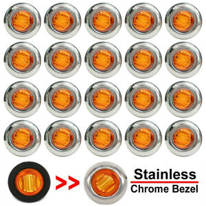 20x 3 4 Round Amber Led Side Marker Light With Stailness Base For Truck Trailer