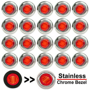 20x 3 4 Round Red Led Side Marker Lights With Stailness Base For Truck Trailer