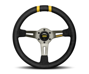 Momo Steering Wheel Mod drift 330 Diam 88 Dish Black Suede Anth Spokes 2 Stripes