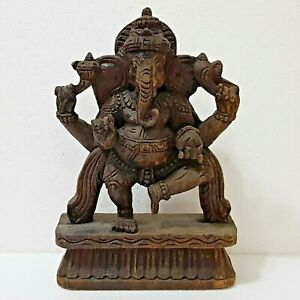 Antique Hand Carved Wood Hindu India Dancing Ganesha Statue