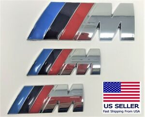 3 X Metal Bmw M Badge Decal Logo M Power Set Of 3 M2 M3 M4 M5 M6