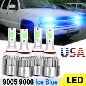 Ice Blue Led Headlight Kit Hi lo Beam Bulbs For Chevrolet Suburban tahoe 1995 06