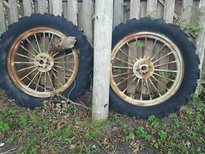 Pair 40 Inch Round Spoke Rims F 12 Or F 14 Antique Tractor International