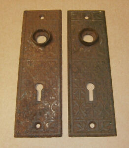 Antique Door Knob Back Plate Escutcheon Set Of 2 Matching Rusty Ornate Victorian
