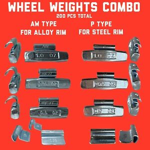 Combo Of 200 Pcs Total Clip On Wheel Weights 25 50 75 1 0 Aw Type