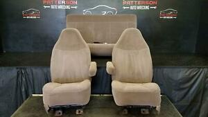 1996 Bronco Driver Lh Passenger Rh Rear Tan Cloth Seat Set W Seat Tracks