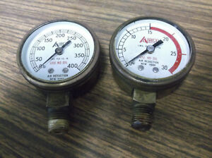 2 Airco Air Reduction Gauge Solid Brass 8410056 57 New York Advertising Front