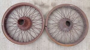 Vintage Budd 24 Wire Spoke Wheels W Lock Rings Original Pair Accessory