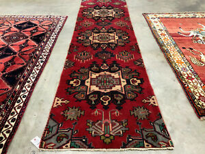 2x9 Red Vintage Runner Heriz Serapi Antique Rug Wool Hand Knotted 3x9 2x10 3x10