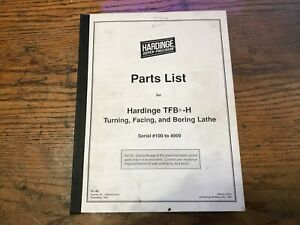 Hardinge Tfb h Lathe Parts Manual