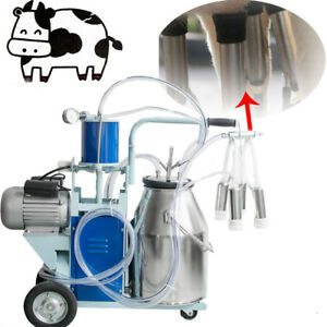 Electric Milking Machine For Farm Cows W 304 Stainless Steel Bucket Cow Milker