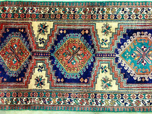 3x9 Antique Blue Runner Serapi Wool Rug Hand Knotted Heriz Oriental 3x10 3x8 Ft