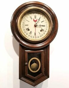 Antique Waterbury Round Top Regulator Calendar Clock 8 Day Working 22 Inch Long