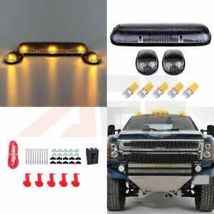 3pcs Clear Lens Top Cab Clearance Lights W T10 Amber Led For 02 07 Chevy Gmc