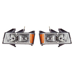 Fits 2005 2008 Chevrolet Colorado Pair Head Lights Driver And Passenger Chrome