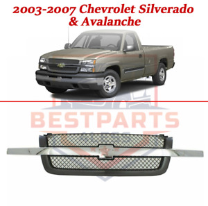 Replacement Grille Assembly For 2003 2007 Chevrolet Silverado Avalanche