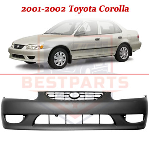 Front Primed Bumper Cover W Fog Light Holes For 2001 2002 Toyota Corolla