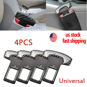 4pcs Car Safety Seat Belt Buckle Alarm Stopper Clip Clamp Universal Carbon Fiber