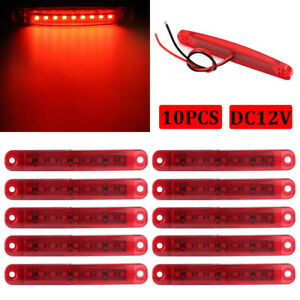 10x Red 9 Led Sealed Side Marker Clearance Light For Truck Trailer Lorry Bus 12v