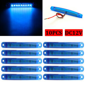 10x Blue Led Clearance Side Marker Truck Trailer Van Lights 12v Waterproof Lamp