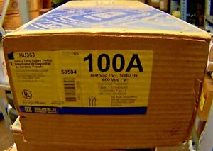New Square D 100 Amp Non Fused Safety Switch 600 Vac Single Throw Hu363