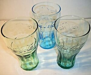 Set Of 3 Vintage Coca Cola McDonald's Promotional Colored Contour Glasses