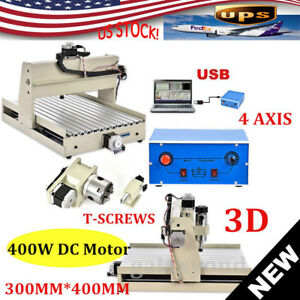 Usb 4 Axis 3040 Cnc Router Engraver Engraving Drilling Milling Machine 400 Motor
