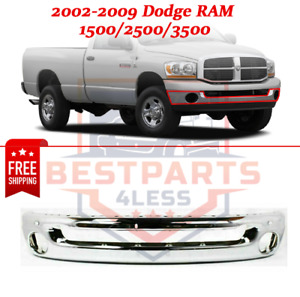 Front Oe Replacement Steel Chrome Bumper For 2002 2009 Dodge Ram 1500 2500 3500