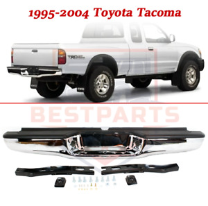 Rear Chrome Steel Bumper Assembly W mounting Bracket For 1995 2004 Toyota Tacoma