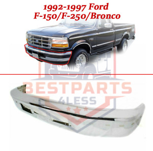 Front Chrome Bumper W Molding Air Holes For 1992 1997 Ford F 150 F 250 Bronco