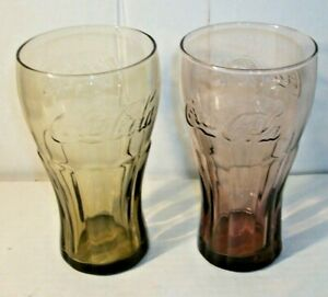 Set Of 2 Vintage Coca Cola McDonald's Promotional Red & Brown Contour Glasses