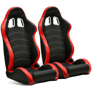 2 X Universal Black Red Pvc Leather White Stitch Left Right Racing Bucket Seats