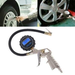 Digital Tire Inflator With Pressure Gauge Hose Chuck Clip For Bike Car Van Truck