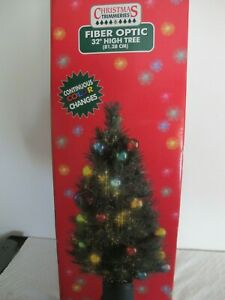 CHRISTMAS TRIMMERS 32quot; FIBER OPTIC TREE W BOX LIGHTED BALL ORNAMENTS
