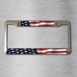 1 Chrome Stainless Steel Usa American Flag Metal Car Truck License Plate Frame