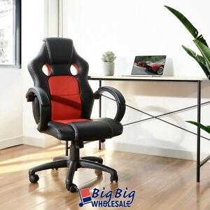 Gaming Racing Leather Office Chair Swivel Ergonomic Computer Desk Seat Blk red