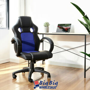 Gaming Racing Leather Office Chair Swivel Ergonomic Computer Desk Seat Blk blue