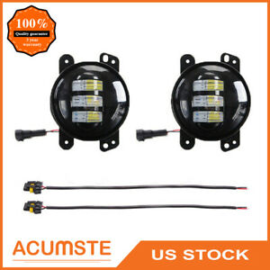 2x 4 Inch 30w Led Round Fog Light Driving Lamp For Jeep Wrangler Jk Tj Off Road