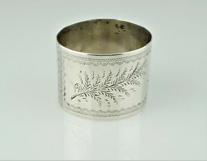Antique Victorian Aesthetic Period Sterling Etched Napkin Ring Holder Mono Cho