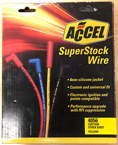 Accel Spark Plug Wires Super Stock Rfi Suppression 8mm Yellow Stock Boots 4056