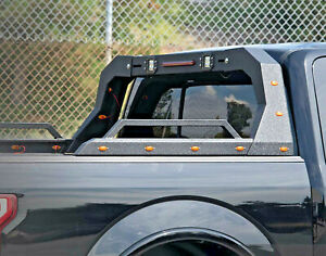 Acs Adjustable Steel Chase Rack Roll Bar For Truck Bed Side Rails W Led Matte