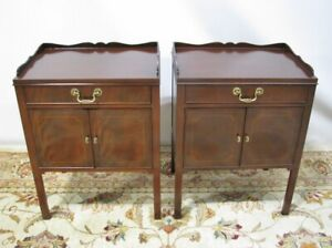 Georgian Pair High End Baker Furniture Mahogany Commodes Nightstands Mint