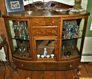 Antique Curved Glass And Oak Cabinet