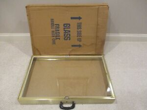 Glass And Gold Aluminum Allstate Display Showcase 34 X 22 X3 Jewelry Coin Flaw