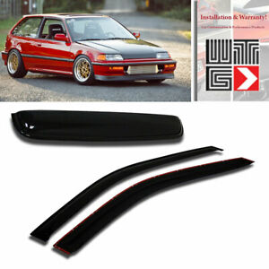Window Sunroof 3pc Visor Guard Smoke For 1988 1991 Honda Civic Coupe 2 Door